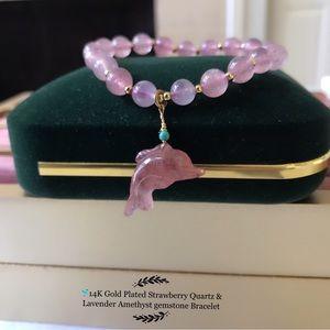 🐬Strawberry Quartz & Lavender  gemstone Bracelet